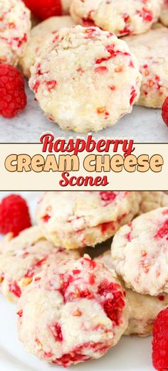 Enjoy breakfast or tea time with these easy Raspberry Cream Cheese Scones. Cream Cheese and lemon zest make these soft scones ones youll want to bake again! Theyll be perfect for your Mothers Day brunch or even breakfast in bed. Raspberry Scones, Raspberry Recipes, Easy Raspberry Desserts, Homemade Desserts, Köstliche Desserts, Dessert Recipes, Pastry Recipes, Baking Recipes, Cookie Recipes