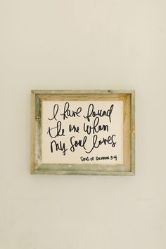I Have Found the One My Soul Loves Barnwood Framed Print. Our barn wood frames are designed and handmade in our Allentown, NJ studio. They are designed and made personally by PCB. Choose your size from the drop down menu when checking out. This frame is made with grey weathered wood and inside is a print made of a light weight, unbleached cotton in a beautiful off white color with black text. The framed fabric is permanent to each frame and cannot be replaced. These frames are charming…