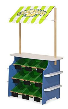 Melissa and Doug Wooden Grocery Store and Lemonade Stand Reversible Awning 9 Bins Chalkboards *** For more information, visit image link. (This is an affiliate link) Wooden Toy Shop, Wooden Toys, Kids Lemonade Stands, Fabric Awning, Awning Canopy, Kids Playroom Furniture, Play Kitchen Sets, Tools And Toys, Plastic Bins