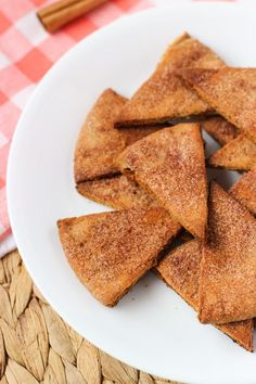 These homemade cinnamon sugar pita chips are crunchy, sweet, and perfectly spiced. No need to buy a store-bought bag again!