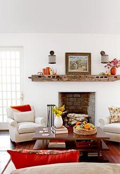 living-room-fireplace-fall-decor-73926b9f Fall Living Room, Living Room With Fireplace, Living Room Decor, Fall Fireplace Decor, Fall Mantel Decorations, Mantel Ideas, Thanksgiving Decorations, Modern Fall Decor, Fall Home Decor