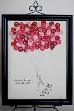 Wensballonnen met persoonlijke tekst, verzameld in fotolijst.