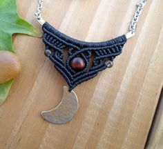 Crescent moon macrame bar necklace silver bar by SelinofosArt