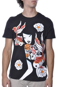 b66583e39d00c Mens TKDK Japanese Koi Fish Tattoo Geisha Anime Tee Shirt