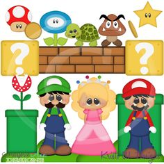 Mario Brothers~SVG-MTC-PNG plus JPG Cut Out Sheet(s) Our sets also include clipart in these formats: PNG & JPG