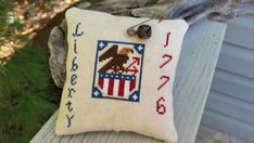 Primitive Eagle Liberty 1776 Americana Cross Stitch Mini Pillow