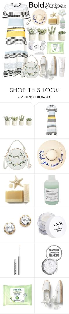"""""""Boldly Stripe"""" by essentiallyessence ❤ liked on Polyvore featuring Allstate Floral, Novis, Eugenia Kim, Davines, Kenneth Jay Lane, NYX, Obsessive Compulsive Cosmetics, Simple and Chantecaille"""