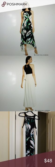 """New Chicos Dress Palm Passion Maxi Chicos size 2 Love this flowing dress perfect for summer nights Chicos size 2 new with tag.  The front length is43"""" and the back is 54"""" Chico's Dresses Maxi"""