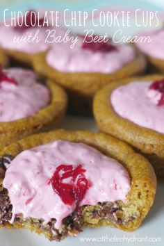At The Fire Hydrant - Chocolate Chip Cookie Cups with Baby Beet Cream