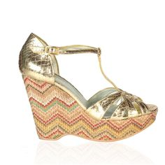 Minnie, gold print. Vintage inspired summer wedge sandal with geometric print and vegan faux snakeskin leather #vegan #shoes #ethical #fashion #brighton www.beyondskin.co.uk
