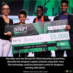 AlexaSite wins the Disrupt NY 2016 Hackathon Grand Prize ________  AlexaSite lets designers update websites using their voice. This technology could be particularly useful for designers working with clients. You could make small adjustments on the go without having to dive into your CSS sheets. AlexaSite uses Amazon's Alexa API and works with Squarespace websites. Impressive!  Around 650 engineers and designers got together to come up with something cool, something neat, something awesome.