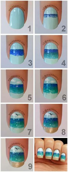 Nail Art Designs For Your Beach Vacation - Ocean Nails Tutorial - Give Yourself an Awesome New Style With One of These Manicures - Nailart with Palm Trees, Polka Dots, Sea Turtles and Designs For Just the Ring Finger - Blue China Glaze Designs and Toe Nail Art and Simple Glitter Pedicures - https://thegoddess.com/nail-art-designs-for-the-beach