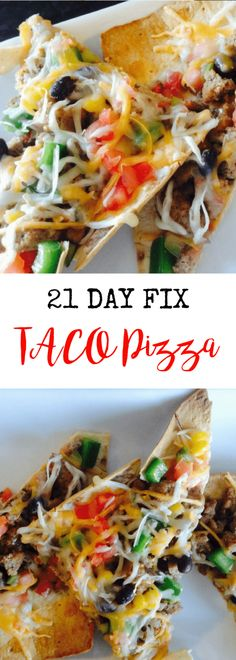 21 Day Fix Taco Pizza   Confessions of a Fit Foodie #cleaneatinglunches #clean #eating #lunches #turkey Fixate Recipes, Diet Recipes, Cooking Recipes, Healthy Recipes, Pizza Recipes, Recipes Dinner, What's Cooking, Tostadas, Tacos