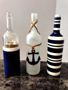 Nautical wine bottles ⚓️ Más - Crafting For Ideas bottle crafts baby shower Wine Bottle Art, Diy Bottle, Wine Bottle Crafts, Beer Bottle, Bottle Box, Nautical Bedroom, Nautical Bathrooms, Nautical Theme, Nautical Craft