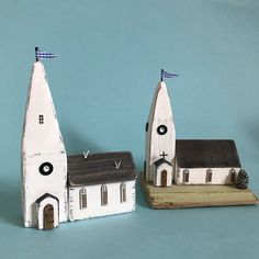 Busy making churches, one has seagulls, being near the sea #lorainespick #shabbydaisies #shabbychic #church #spires #driftwoodart #rusticart #rustic #handmade