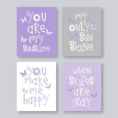 SALE Kids Wall Art Purple and Gray Nursery Decor by YassisPlace, $30.99