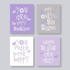 SALE Kids Wall Art Purple and Gray Nursery Decor by YassisPlace, $30.99