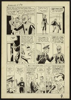 Where it all began (3). Original art by Steve Ditko and script by Stan Lee. Amazing Fantasy 15, April 1962, page nine.