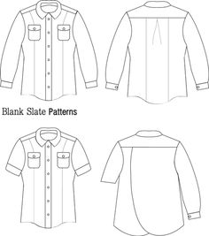 Line Drawing - Novelista Shirt Sewing Pattern for Women - Button Down Shirt Sewing Pattern by Blank Slate Patterns