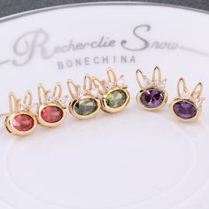 10mm 18K Gold Plated Fashion Small Rabbit  Shape Inlaid Zircon Ladies Copper Earrings