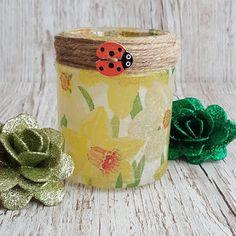 Artisan Rainbow: Daffodils Upcycled Jar Lamp by Sharon Perry Art