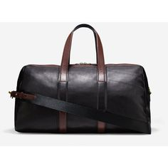 Cole Haan Mens Buchannon Duffle Bag (345 AUD) ❤ liked on Polyvore featuring men's fashion, men's bags, black, mens leather laptop bag, men's duffel bags, mens leather duffle bag, mens duffle bags and mens leather bags