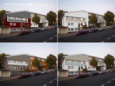 Farbgestaltung für ein Wohnheim in Fulda in unterschiedlichen Farbvarianten und Aufteilungen. Visualisierung unterschiedlicher Farbkonzepte für eine Wohnhaus in Hannover.