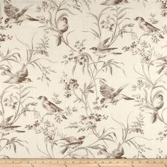 French General Bird Toile Blend Bisque from @fabricdotcom  Screen-printed on a linen/cotton blend fabric, this versatile medium/heavyweight fabric is perfect for window treatments (draperies, valances, curtains and swags), toss pillows, duvet covers, pillow shams, slipcovers and upholstery. Colors include shades of taupe and cream.