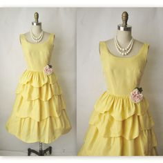 Vintage 1950's Yellow Tiered Organza Party Dress ...darling beyond words