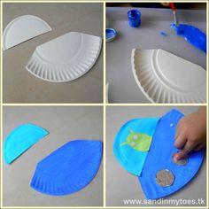 Making a spaceship craft with a paper plate.