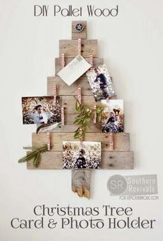 Pallet Christmas Tree Card Holder
