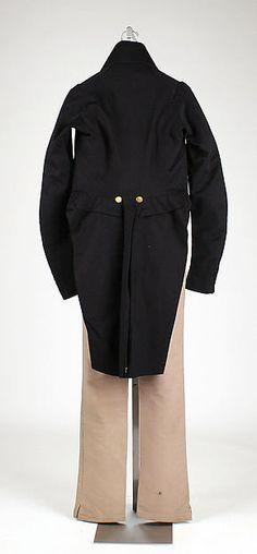 Suit Designer: Newton (British) Date: 1829 Culture: British Medium: wool (a, b), silk (b) Dimensions: Length at CB (a): 46 1/4 in. (117.5 cm) Length at CB (b): 20 1/2 in. (52.1 cm) Length at Side Seam (c): 45 in. (114.3 cm)