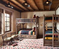 These warm, cozy, tree-inspired bunk rooms pack serious rustic style while sleeping a crowd. Rustic Bunk Beds, Cabin Bunk Beds, Bunk Bed Rooms, Rustic Kids Rooms, Ikea, Small Room Bedroom, Dorm Room, Cabin Interiors, Kids Room Design