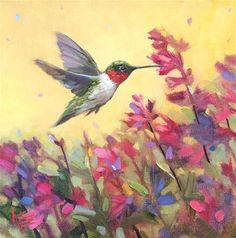 "Daily Paintworks - ""Summer Hummer"" - Original Fine Art for Sale - © Krista Eaton Hummingbird Painting, Red Hummingbird, Hummingbird Pictures, Bird Artwork, Sea Glass Art, Watercolor Bird, Painting Edges, Beautiful Paintings, Landscape Art"