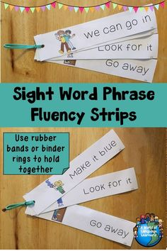 Sight word fluency strips with sight word phrases. PIctures make these great for ELLs. #vocabulary #reading #readingiscool #esl #esol #tpt #teacherspayteachers #phrases