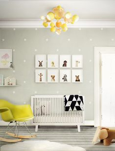 This bright yellow Delightfull Atomic lamp really makes this baby room pop! /// Full interview with the designer on Interiorator.com