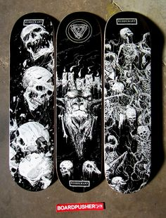 Today's Featured Decks were designed by Mark Riddick and you can pick one up at http://www.BoardPusher.com/shop/riddickart.  ICYMI we recently chatted with Mark about death metal and skateboarding art and you can find that conversation at http://www.boardpusher.com/blog.