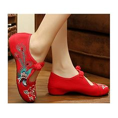 Vintage Chinese Embroidered Floral Shoes Women Ballerina Mary Jane Flat Ballet Cotton Loafer Red 40 * Visit the image link more details.