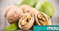 Μια χούφτα καρύδια περιέχει τόση βιταμίνη Ε όση μισό φλιτζάνι ελαιόλαδο και μπορούν να αποτελέσουν μέρος ενός ισορροπημένου διαιτολογίου Garlic, Vegetables, Food, Vegetable Recipes, Eten, Veggie Food, Meals, Veggies, Diet