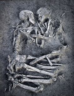 """""""The Lovers of Valdaro,"""" A young Neolithic couple locked in eternal embrace, by Dario Pignatelli"""