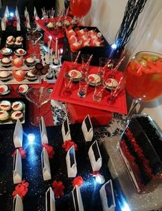 red, black and glitter bridal showers | Black red and white bridal shower theme!