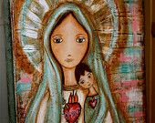 SALE 30% off w/ coupon: Givelove30 - Heart of Mary with Child - Original Mixed Media Painting on Canvas by FLOR LARIOS (11 x 14 Inches))