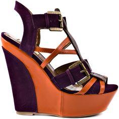 Jessie - Purple by Promise Shoes Purple Wedges, Purple Heels, Shoes Heels Boots, Heeled Boots, Cute Wedges, Orange And Purple, Jessie, Designer Shoes, Fashion Shoes