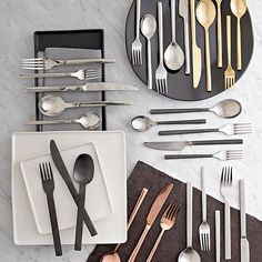 Mixed metals in the kitchen. Gold, copper, silver and matte black flatware ship for free.