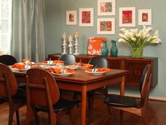 GRUBB BLUE ORANGE DINING ROOM…I just really like the mounted buffet table on the wall. Don't see that very often! and of course the calla lilies ;)
