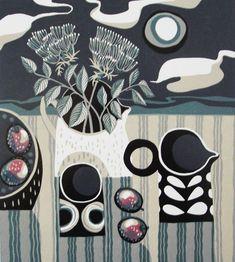 Black Jug linocut print by Jane Walker
