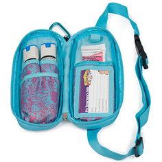 Inside View - Epipen and Medicine Carrying Case Pink / Blue Pattern. Contents not included.