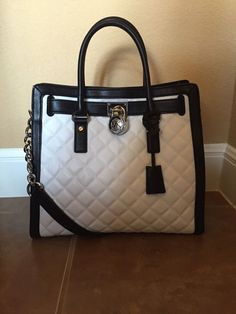 Michael Kors Hamilton Quilted Large Optic White & Black Tote NWT! in Clothing, Shoes & Accessories, Women's Handbags & Bags, Handbags & Purses | eBay