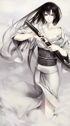 Anime picture with original erise single tall image looking at viewer black hair bare shoulders japanese clothes black eyes traditional clothes wide sleeves pale skin expressionless girl weapon sword kimono katana obi yukata Anime Kimono, Manga Anime, Manga Art, Katana Girl, Yuki Onna, Anime Ninja, Ninja Girl, Beautiful Anime Girl, Manga Characters