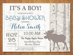 Woodland Baby Shower Invitation. Moose Baby Shower Invitation. Baby Boy Shower  Invite. Rustic Birch Tree. Vintage. Retro. Printable Digital